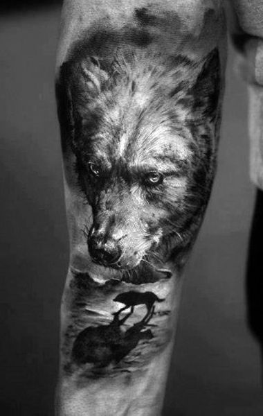 incredible wolf tattoo 3d