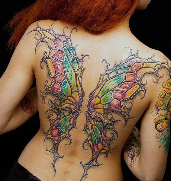 beauty wings back tattoo