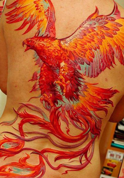 phoenix back tattoo for woman