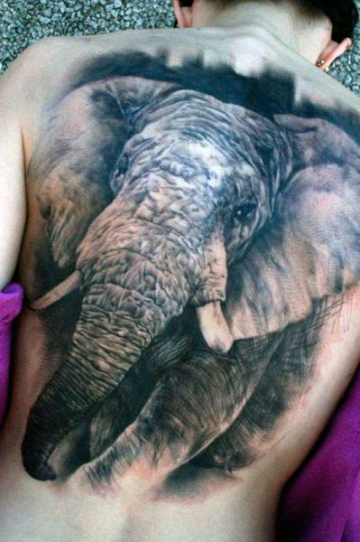 realistic elephant tattoo 3d
