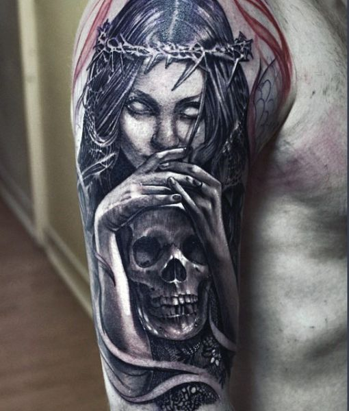 dark angel arm tattoo
