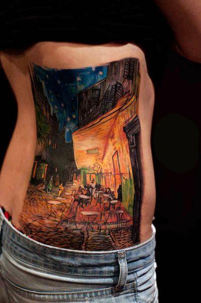 tatuaże damskie 3d na boku
