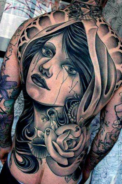 tatuaże męskie twarz kobiety