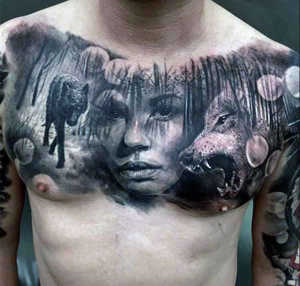 incredible tattoo wolf 3d
