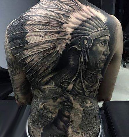 incredible indian and wolves tattoo