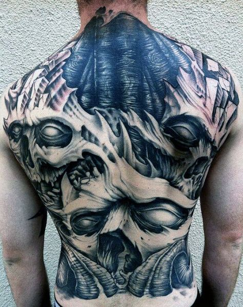 demons 3d back tattoo