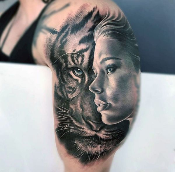 woman face and tiger