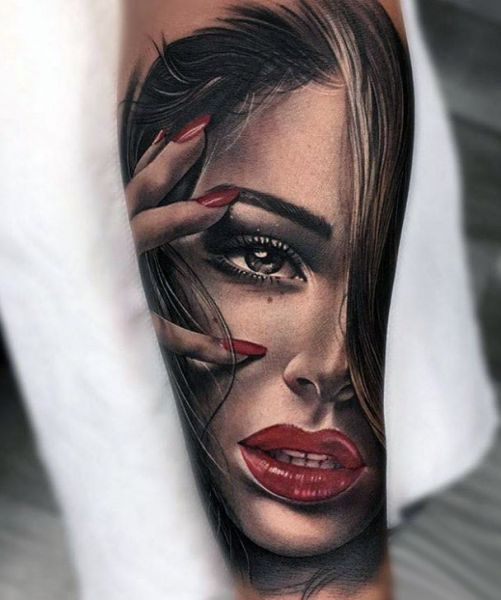 female portrait tattoo 3d