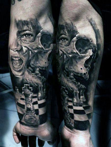 tatuaże 3d szachownica