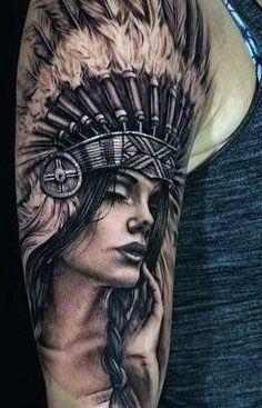tatuaż indianki na ramie