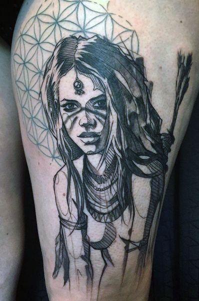 tatuaż pięknej wojowniczki