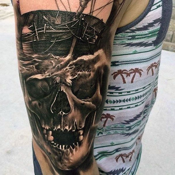 3d skull with ship tattoo