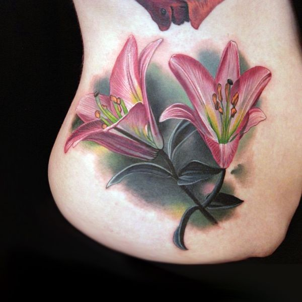 3d colored lili side tattoo