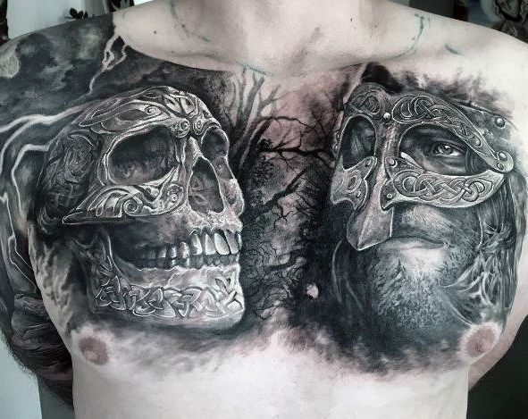 knight face and skull chest tattoo