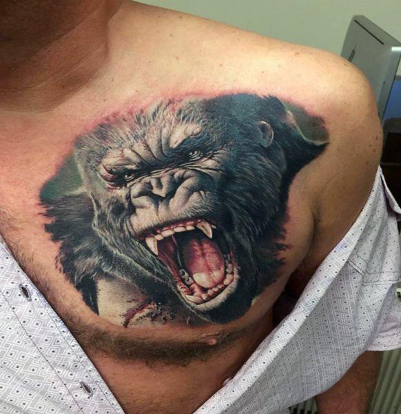 realistyczny tatuaż goryla