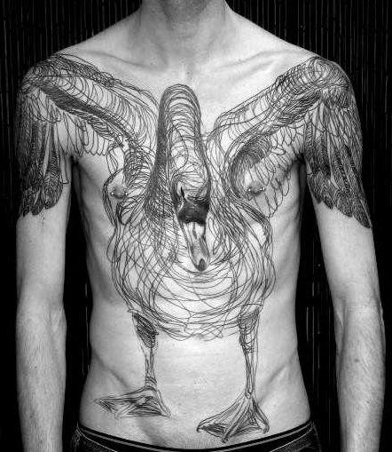 amazing sketch swan tattoo