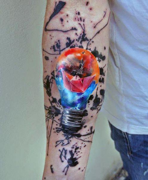 niesamowity tatuaż żarówka 3d