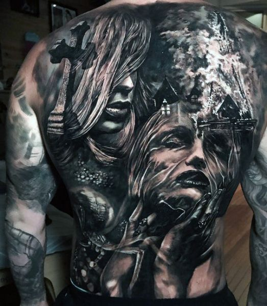 full back tattoo face and cross