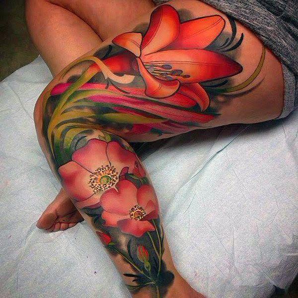 leg tattoo flowers