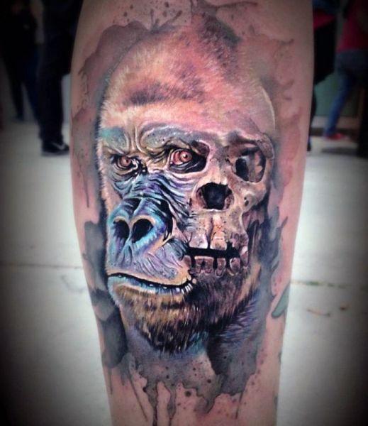 tatuaże 3d czaszka i goryl