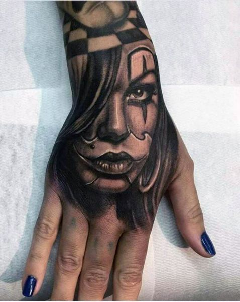 hand tattoo women face