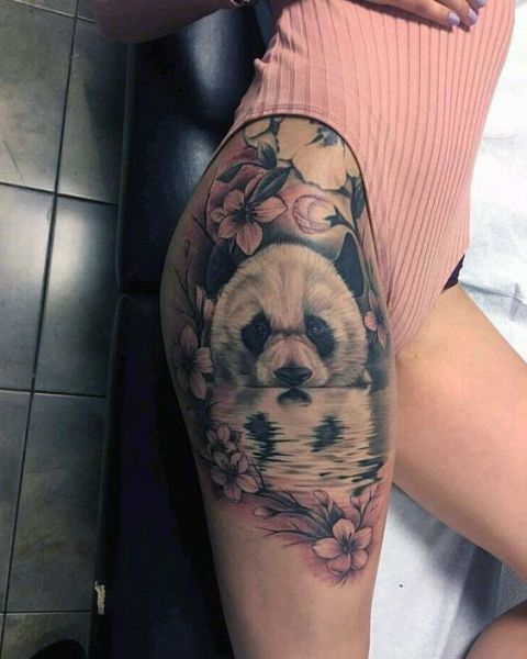 panda bear thigh tattoo