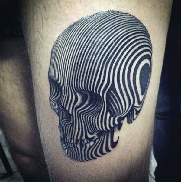 skull 3d thigh tattoo