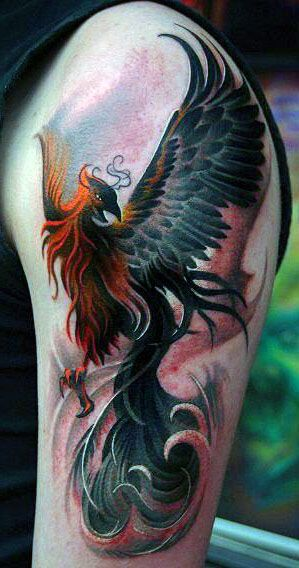 amazing phoenix arm tattoo