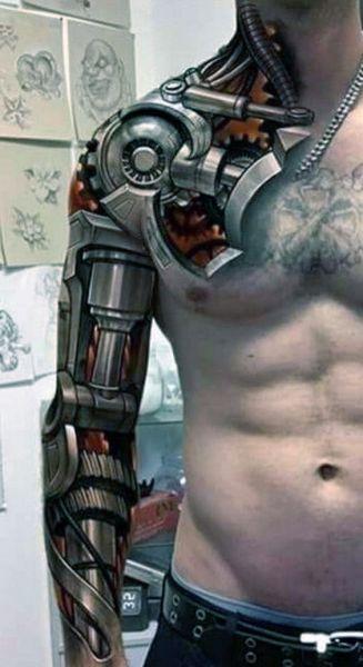 tatuaże biomechaniczne dla mężczyzny