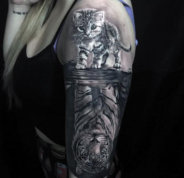 tatuaże 3d tygrys i kotek