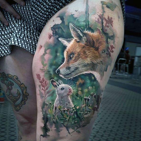 tatuaż realistyczny królik i lis