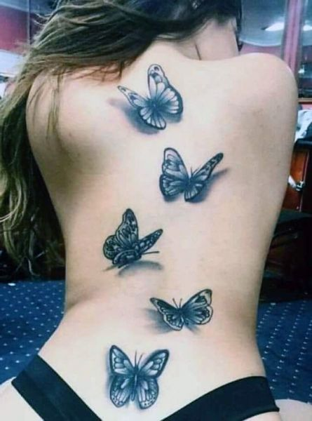 Tatuaże Damskie Motyle 3d Na Plecach