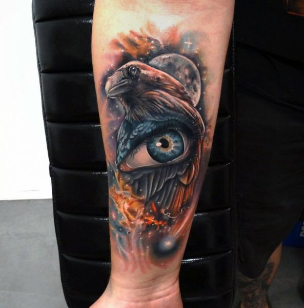 3d tattoo crow and eye