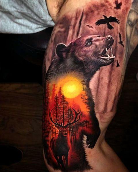 tatuaże zwierzęta niedźwiedź 3d
