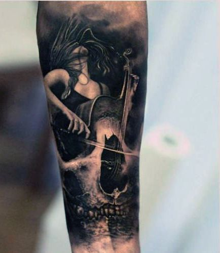 amazing tattoo cello skull
