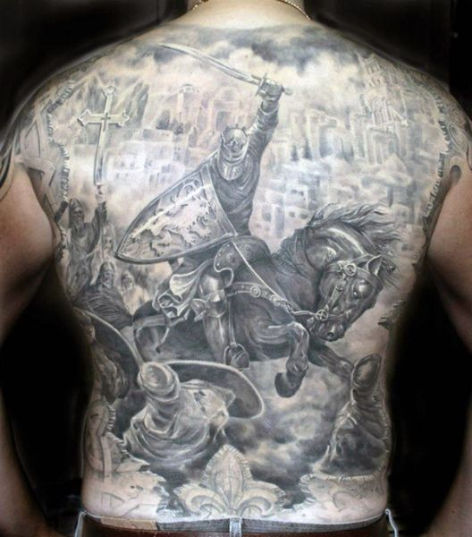 warrior full back tattoo