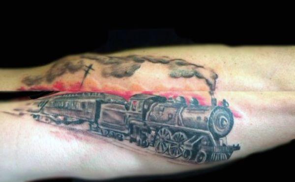 tatuaż lokomotywy 3d