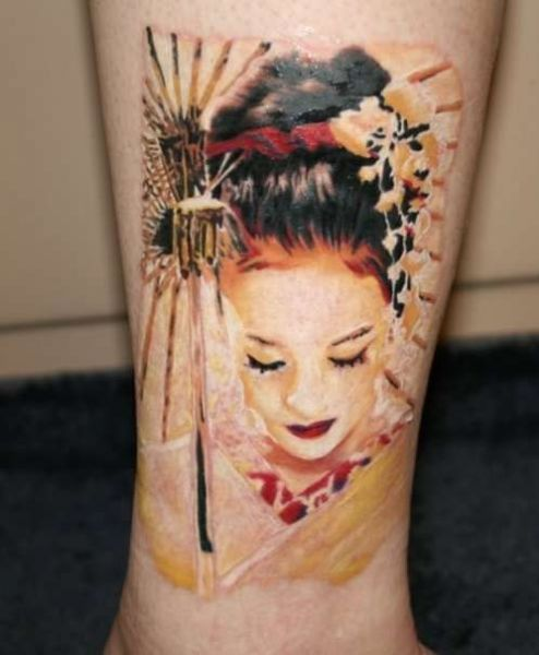 3d geisha tattoo on ankle