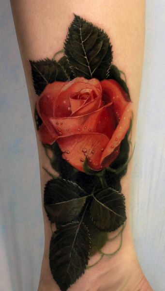 3d realistic colored rose tattoo