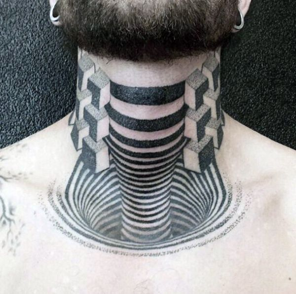 tatuaże 3d na szyi