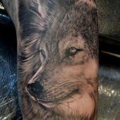 tatuaż wilka na przedramieniu