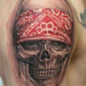 tatuaż czaszka 3d na ramieniu