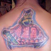 tatuaż żółw i żaba