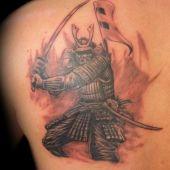 samurai back tattoo
