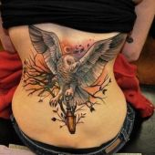 lower back tattoo owl