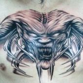 demon chest tattoo