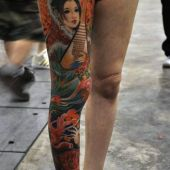 Full Leg Geisha Tattoo