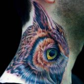 colorful owl neck tattoo