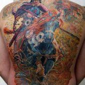 warrior tattoo on back