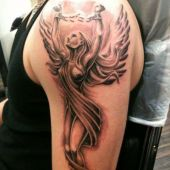 angel arm tattoo